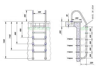 Escada Tradicional Degrau Inox 1.1/2